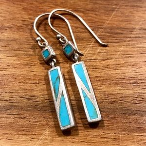 Turquoise & Silver Pendant Earrings